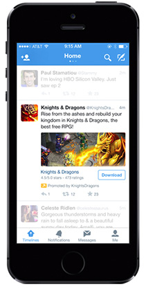 Image of mobile ad with Twitter embedded